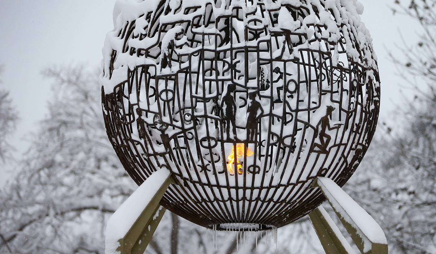 UND Eternal Flame in winter