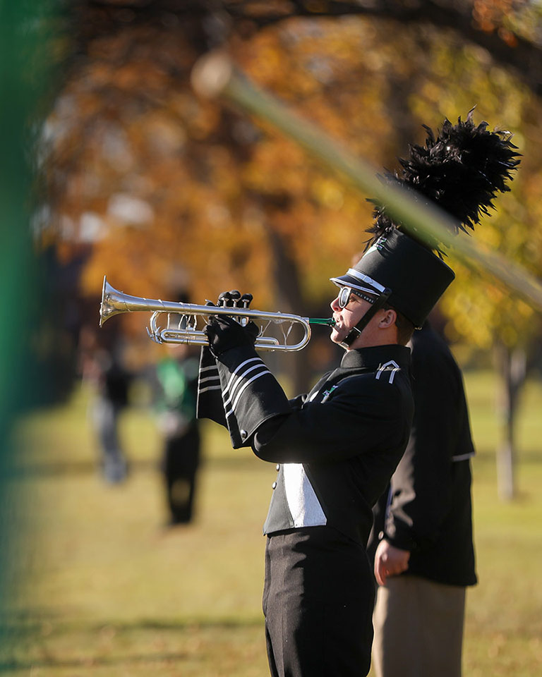 UND trumpeter at Homecoming