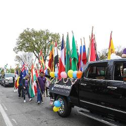 Flags on the truck during parade