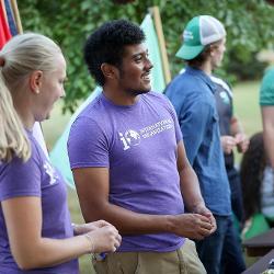 Welcoming students at organization fair.