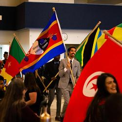 World flags entering the event