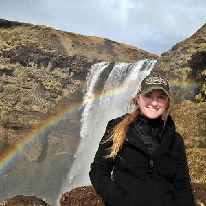 Student at Iceland waterfall