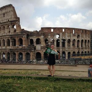 Student in front of Colosseum.