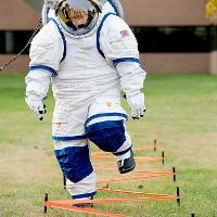 space suit going through training