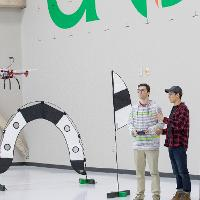 Small drone is being flown by aerospace students