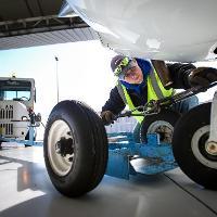 working under a plane