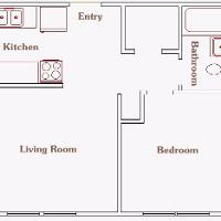 one bedroom layout of 3904 University