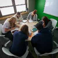 group studying in round table
