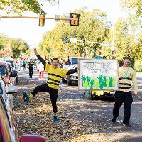 celebrating volunteering during parade