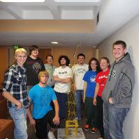 engineering students show off project