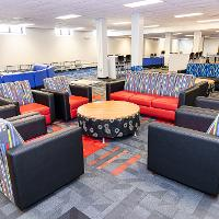 Bek 10 is a newly renovated lounge space that is air conditioned, complete with many TVs, study spaces and games