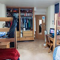 Walsh Hall decorated room with closet view