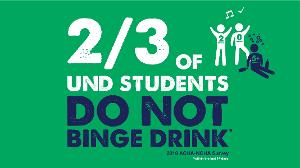 2 out of 3 UND students DO NOT binge drink within the last 14 days.