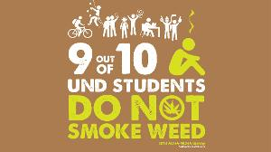 Within the last 30 days, 9 out of 10 UND students did not smoke weed.