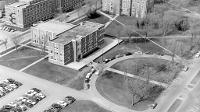 An aerial view of the Memorial Union taken in 1956.