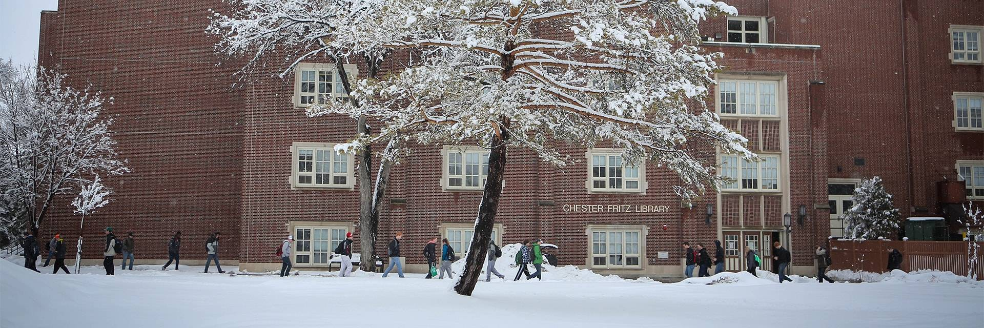 winter scene at Chester Fritz Library
