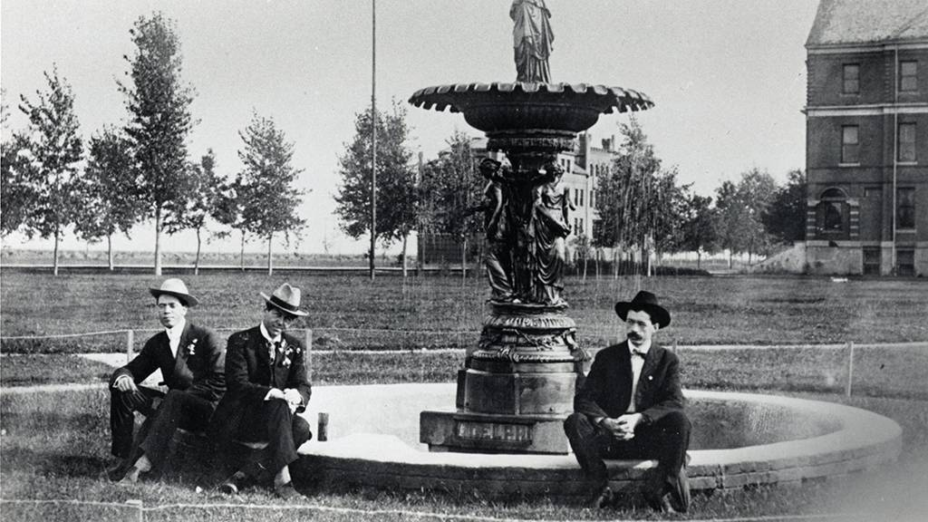 Sitting by new Aldelphi Fountain 1900's