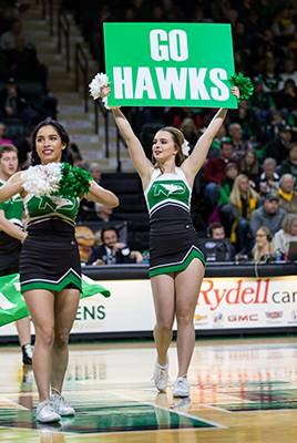 Women's basketball cheerleaders