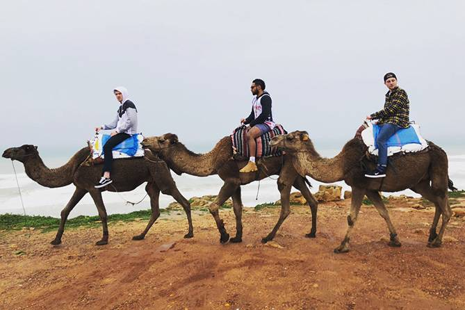 UND student Mustaf on camel with two friends