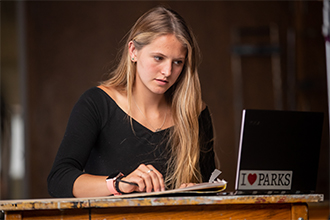 UND online student taking course