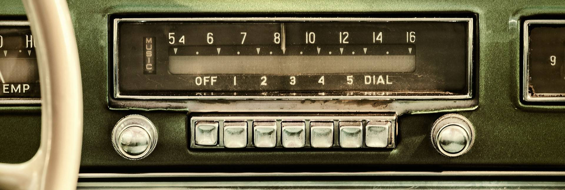 image of old car radio with push button station changer