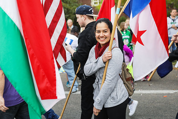 international students at parade