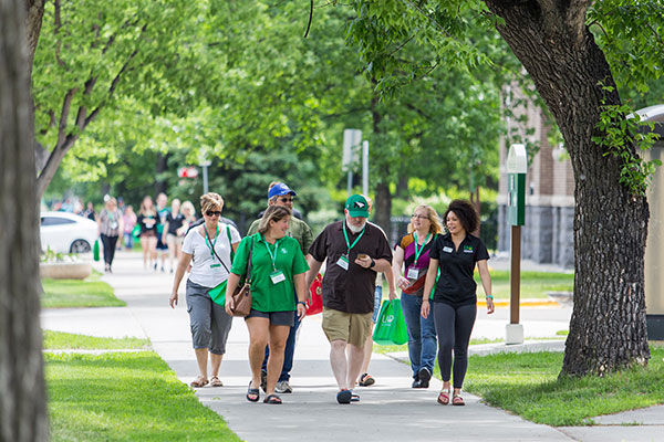 Orientation tour on campus