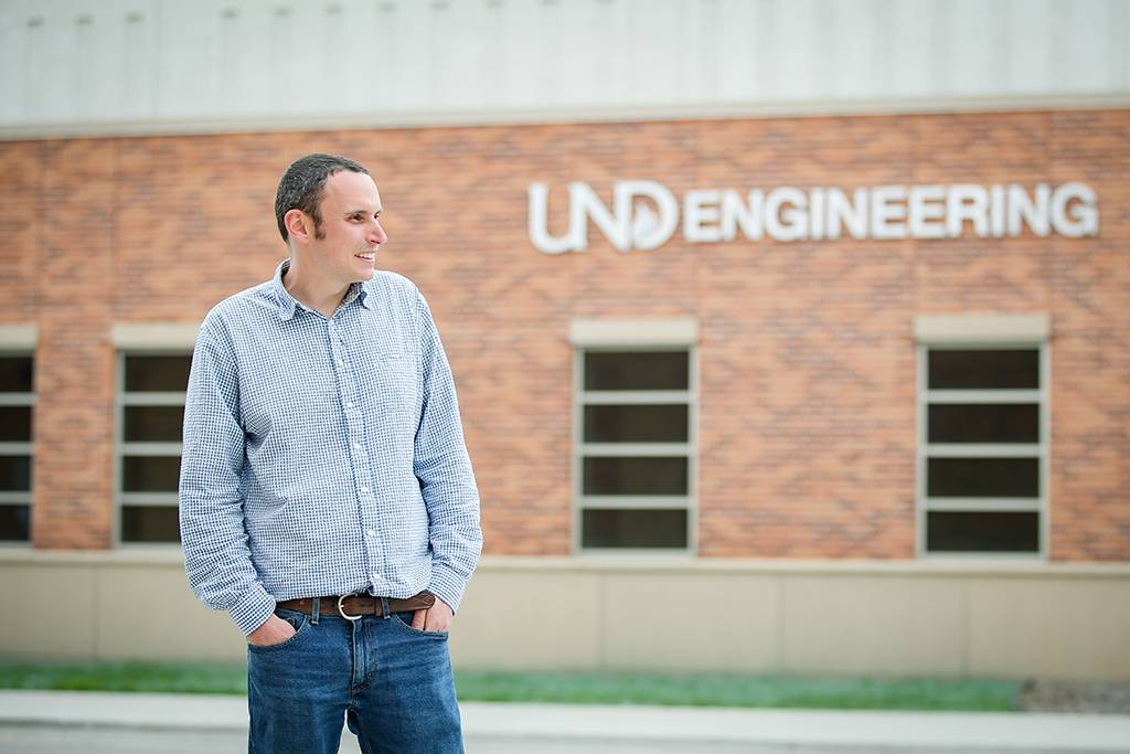 Brendan Blades at UND engineering building