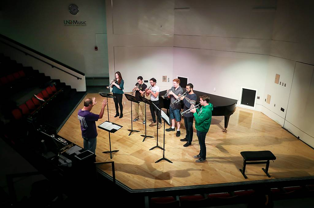 UND trumpet group at practice