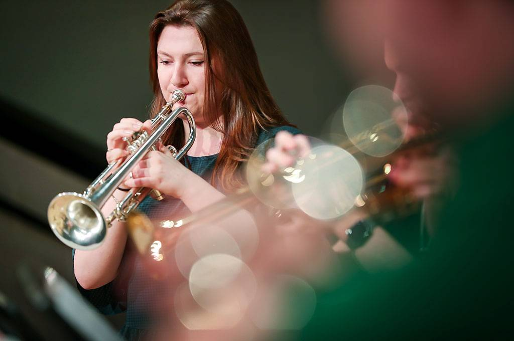 UND trumpet player Christiena Taralson