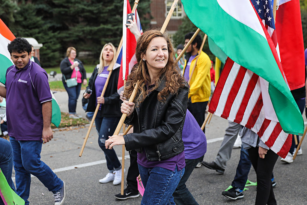 Zsofia Barandi represents Hungary in the UND Homecoming Parade.
