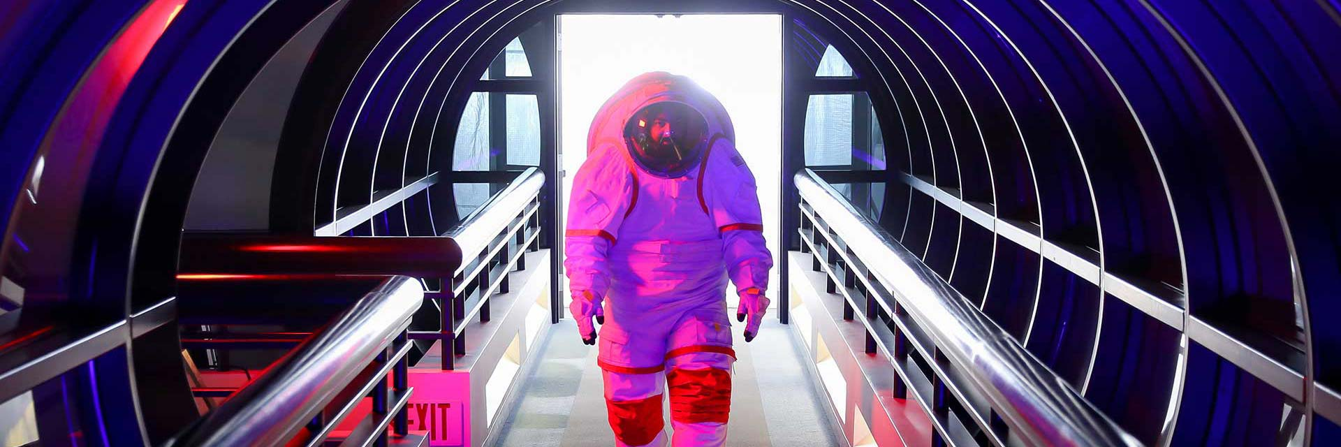 space studies student in spacesuit