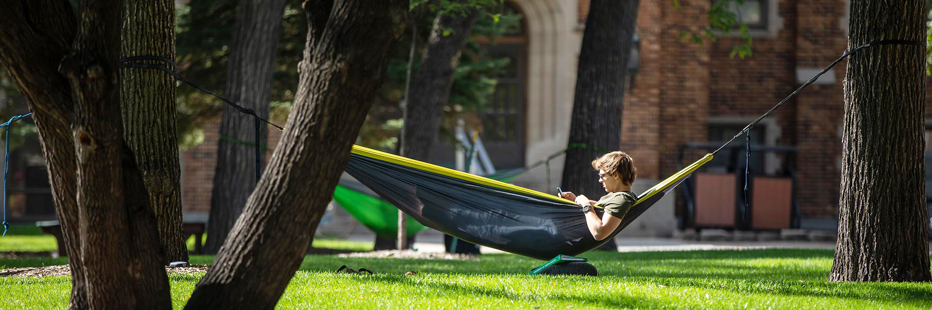 student in a hammock
