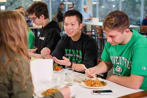 Students eating together in dining hall