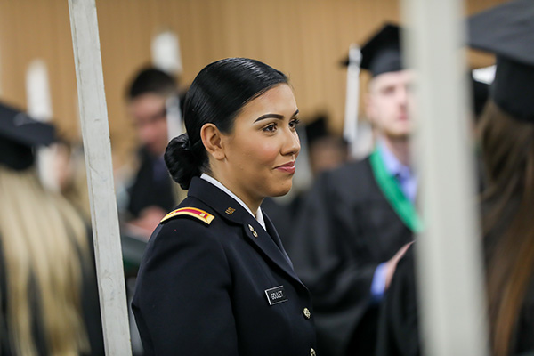 Military student at commencement