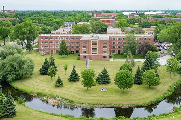 aeriel photo of residence hall