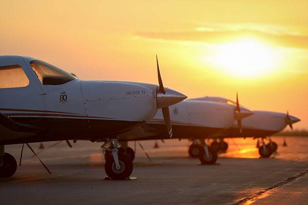 UND planes at sunrise