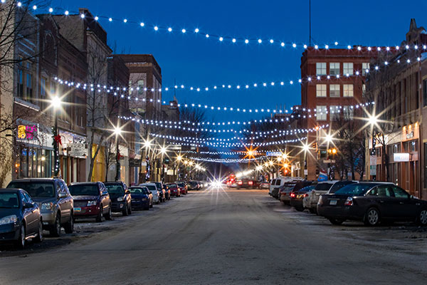 downtown Grand Forks at night